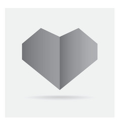 Valentine love gray black heart paper craft in vector