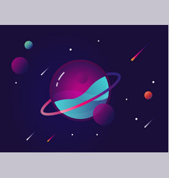Vibrant colorful planet with stars and speeding vector