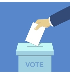 voting concept hand putting paper ballot box vector image