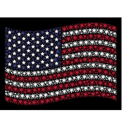waving american flag stylization of blot vector image