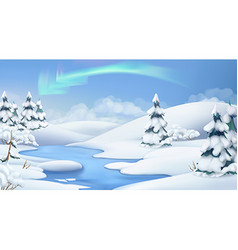 Winter landscape Christmas background 3d vector