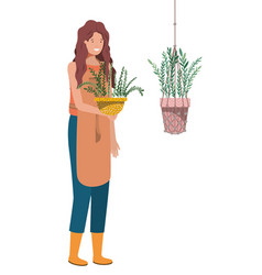 Woman with houseplant on macrame hangers vector