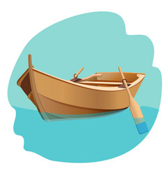 Wooden boat with oars isolated vector