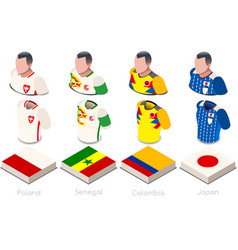 World cup group h jersey set vector