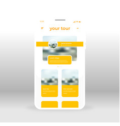 yellow tour ui ux gui screen for mobile apps vector image