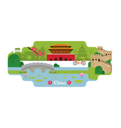 china travel and attraction landmarks vector image vector image