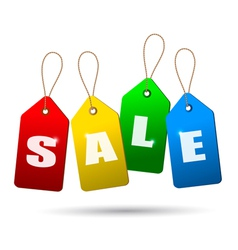 Colorful sale tags Concept of discount shopping vector image vector image