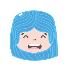 Full color girl head with hairstyle and disgusted vector