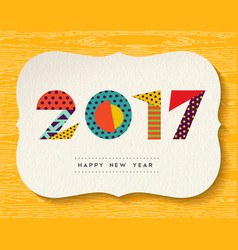 happy new year 2017 color abstract greeting card vector image