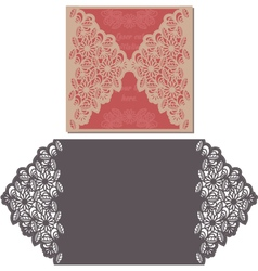 Laser cut pattern for invitation card for wedding vector image vector image