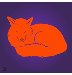 Red sleeping fox silhouette vector image vector image