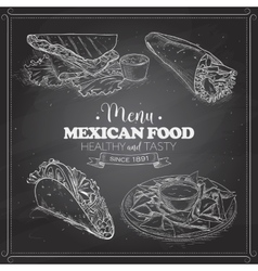 scetch of mexican food menu on a black board vector image