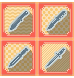 Seamless background with combat knives vector image vector image
