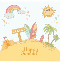 Summer Beach Card - with place for your text vector image vector image