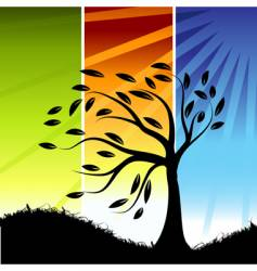 tree silhouette color background vector image