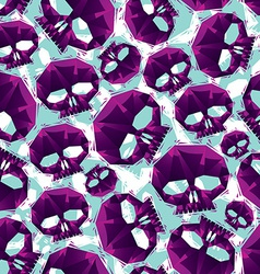 Violet skulls seamless pattern geometric vector image vector image