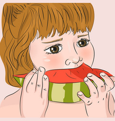 Child eating watermelon vector