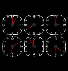 Clock face set of time indication vector