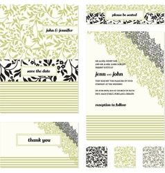 Floral invite stationary vector image vector image