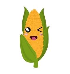 fresh corn kawaii style vector image