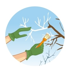 Hands whitewashing a tree vector image