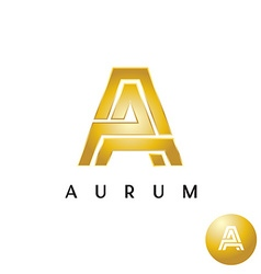 Letter A golden style wide lines logo vector image vector image