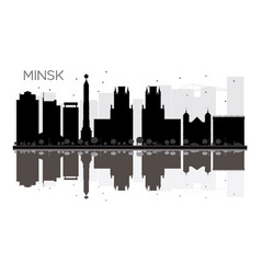 minsk city skyline black and white silhouette vector image
