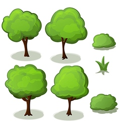 Trees Set Green Cartoon vector image