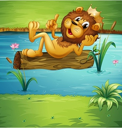 A smiling lion on a dry wood vector image