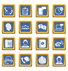 call center symbols icons set blue vector image vector image