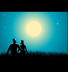 couple sitting on grass watching the full moon vector image