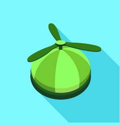 green propeller hat icon flat style vector image