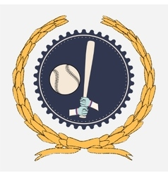 Hands holding baseball bat and big ball vector image vector image