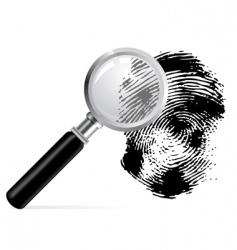 magnifier with scanned fingerprint vector image
