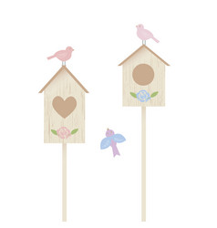 nestling boxes and birds vector image