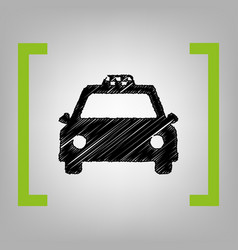 taxi sign black scribble vector image
