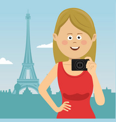 young tourist woman with film camera in paris vector image