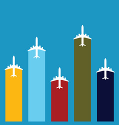 airplane travel in color set vector image