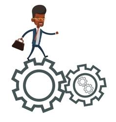 Business man running on cogwheels vector