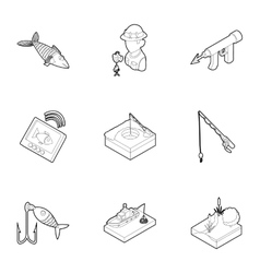 Fish icons set outline style vector
