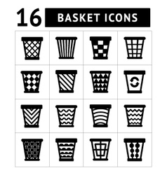 Icons set of trash basket vector image