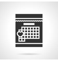 Loving day in calendar black design icon vector image