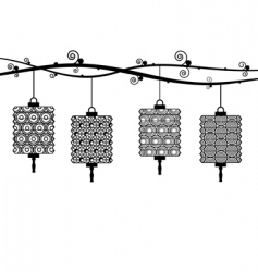 paper lanterns vector image vector image