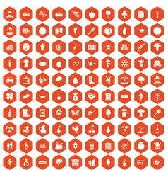 100 farming icons hexagon orange vector