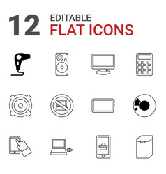 12 electronic icons vector image