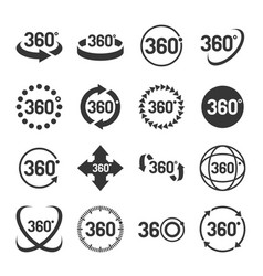 360 degree icons set vector