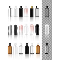 3d mock up realistic transparent cosmetic bottle vector image