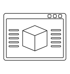 3d model icon outline vector image