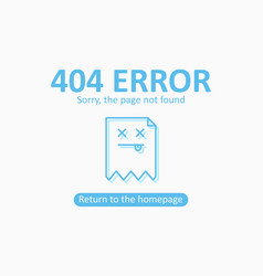 404 error page not found template with dead file vector
