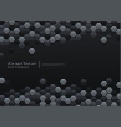 abstract black hexagonal background 3d design vector image
